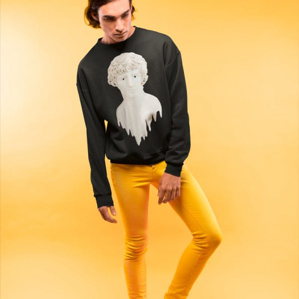 Men crewneck sweatshirt with Liquid Adonis print