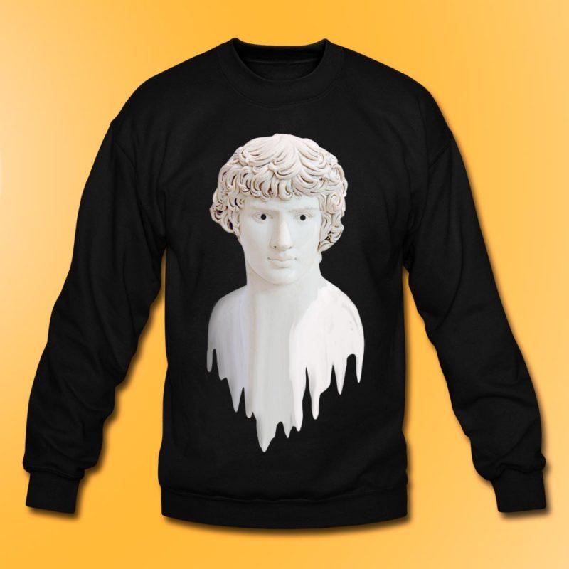 Man´s black crewneck sweatshirt with Liquid Adonis print