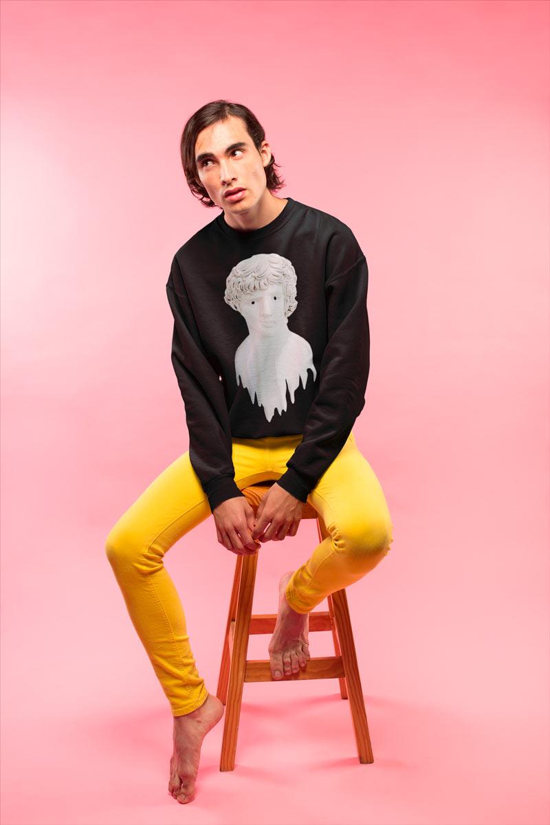 Men crewneck sweatshirt with Liquid Adonis print