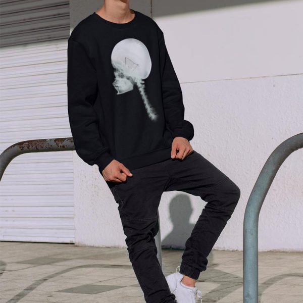Man's Luminous Skull Crew Neck black Sweatshirt