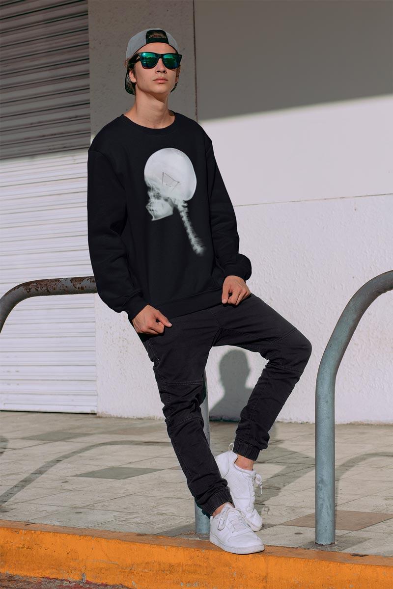 Man's Luminous Skull Crew Neck black Sweatshirt