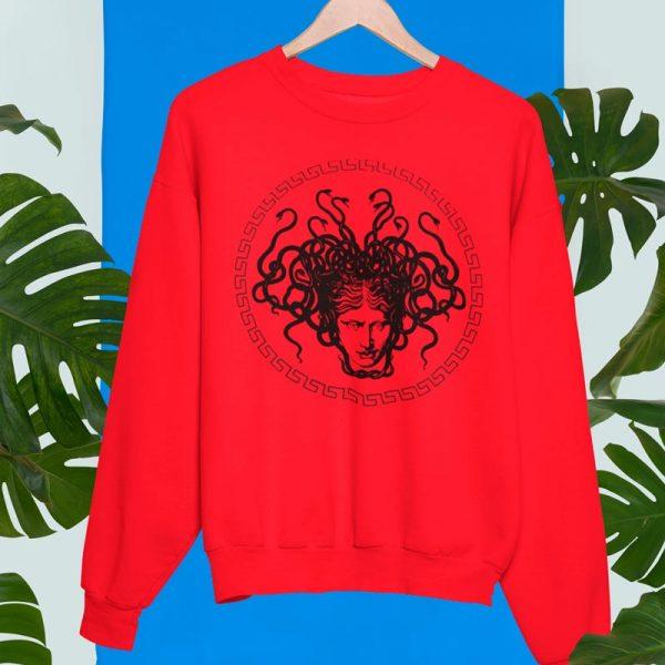 Unisex red crewneck sweatshirt with Medusa head print
