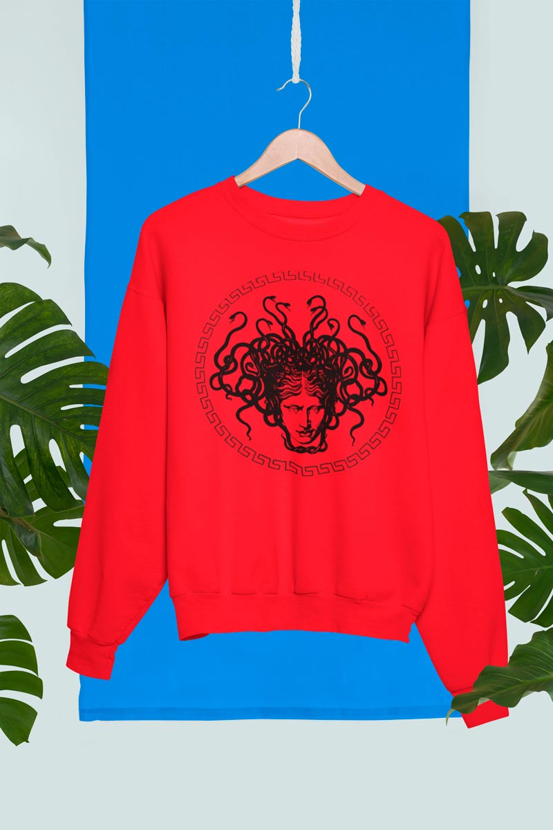 Unisex red crewneck sweatshirt with Medusa head print