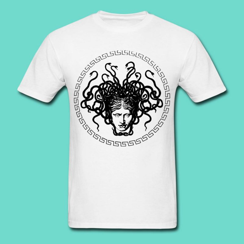 Medusa Head print white cotton men's T-shirt