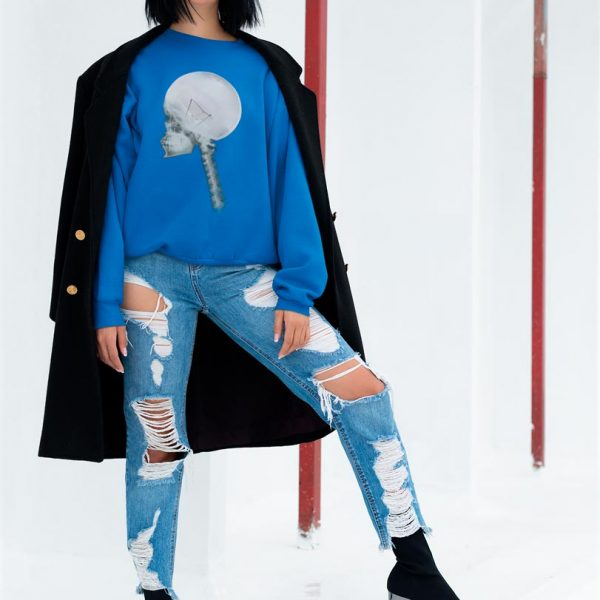 Woman crewneck sweatshirt with Light Bulb Skull print