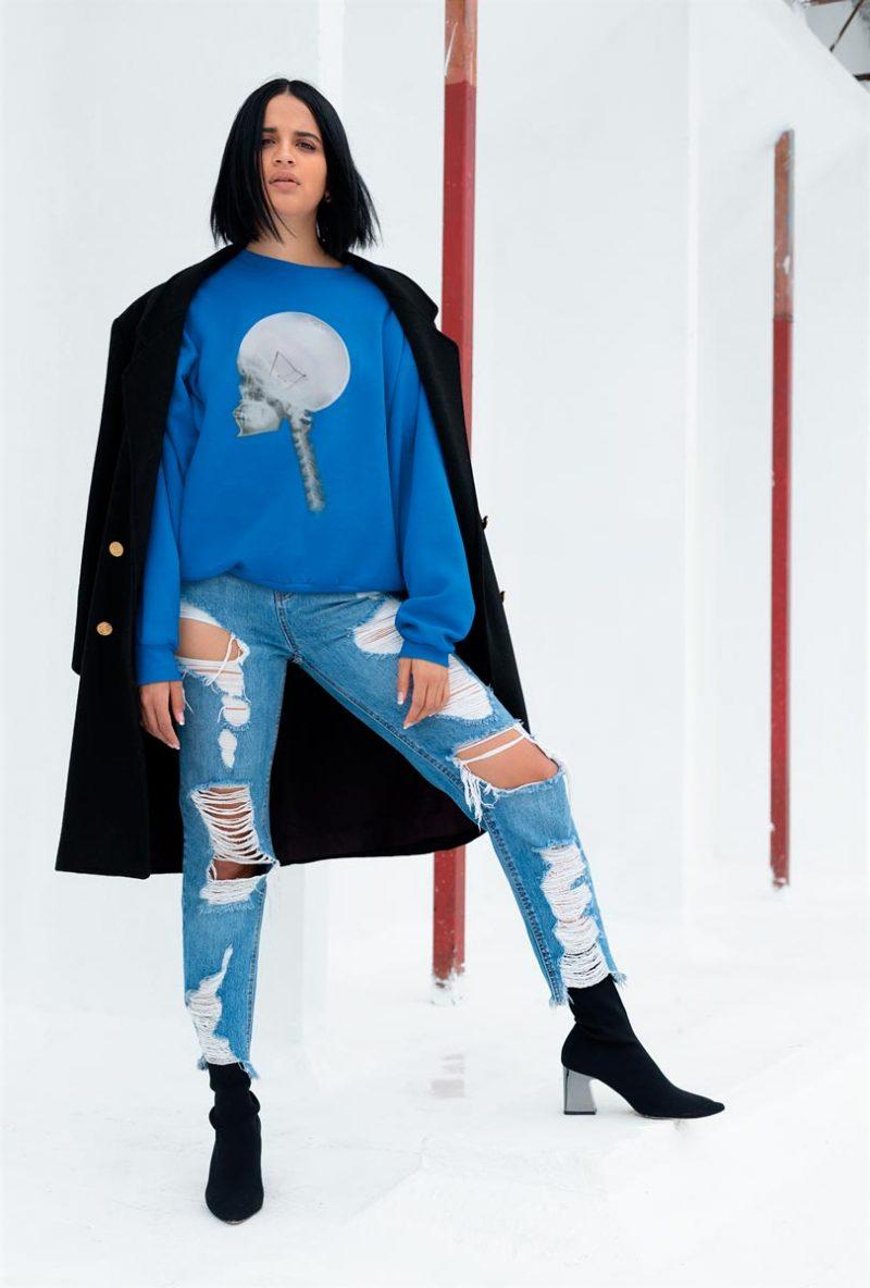 Woman crewneck sweatshirt with Light Bulb Skull print