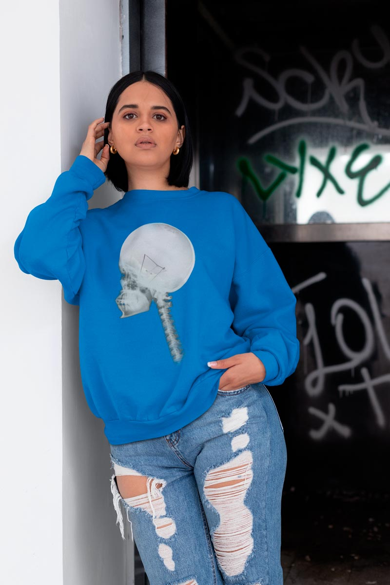 Women's sweatshirt with Light Bulb Skull print