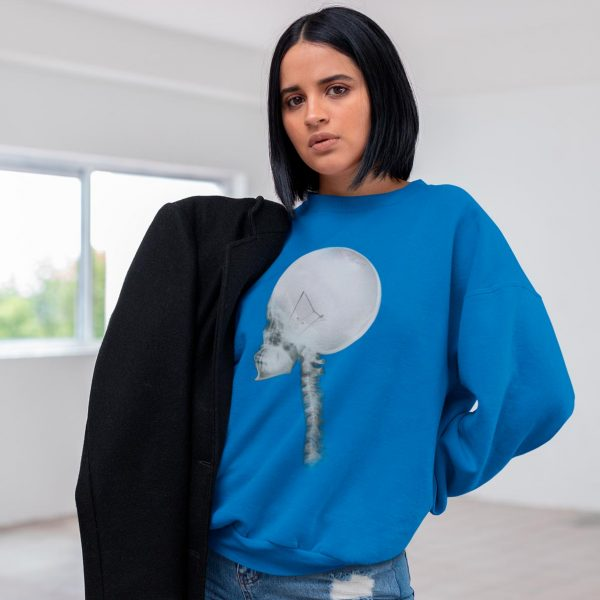 Woman's crewneck sweatshirt with Light Bulb Skull print