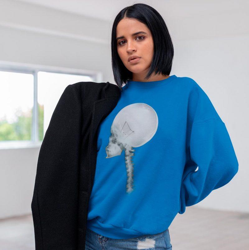 Woman's crewneck sweatshirt with Light Bulb Skull print