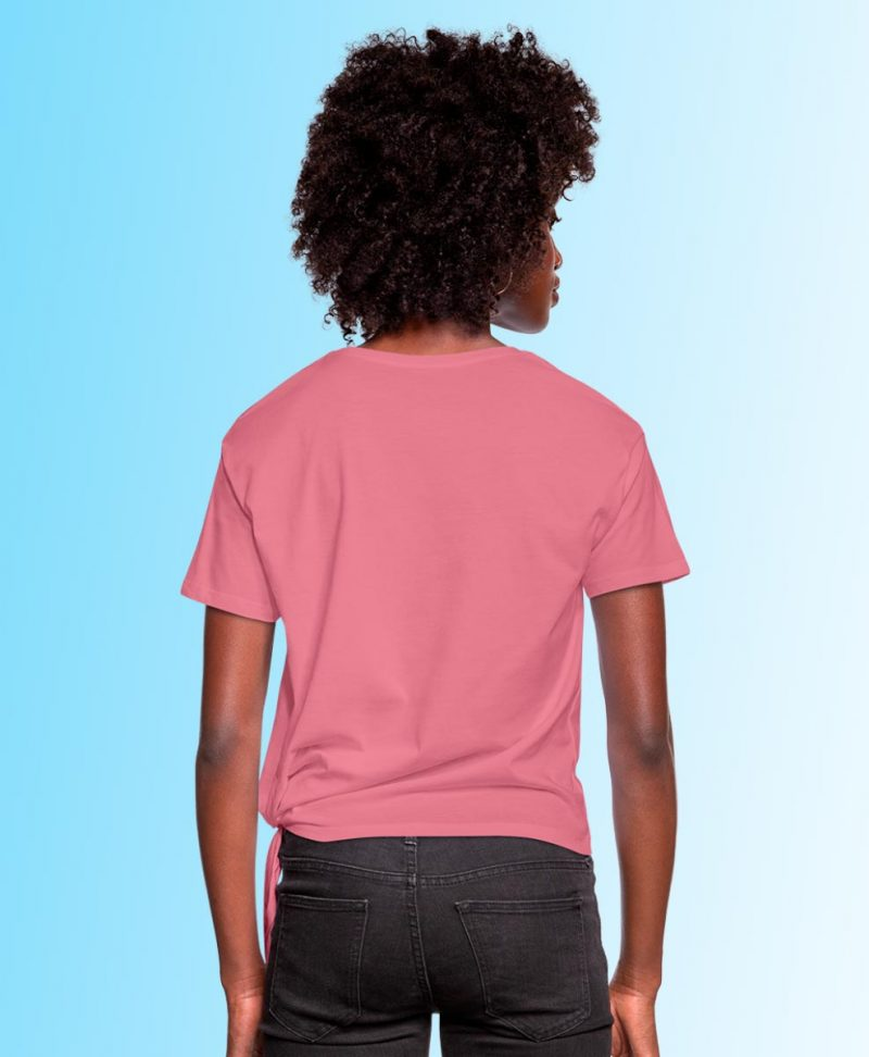 Woman's Knotted T-Shirt with Neon Horses print
