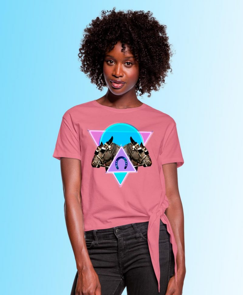 Women's Knotted T-Shirt with Neon Horses print