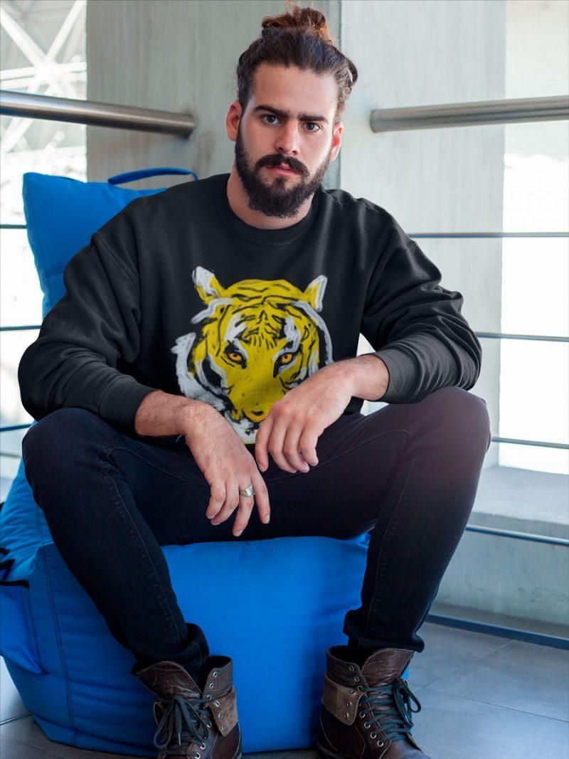 men tiger print sweatshirt