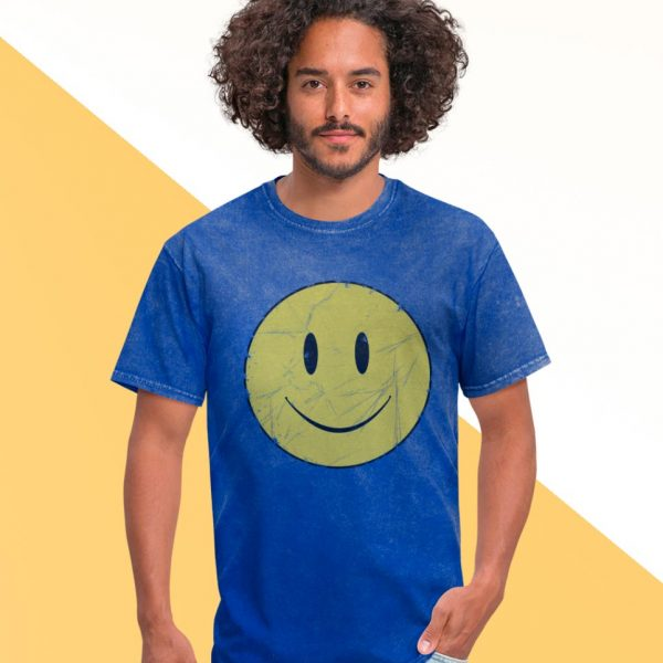 Blue men t-shirt smiley emoji print