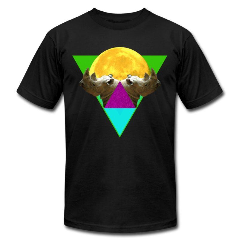 black printed men t-shirt rhinoscope with rhinos and geometric shapes print