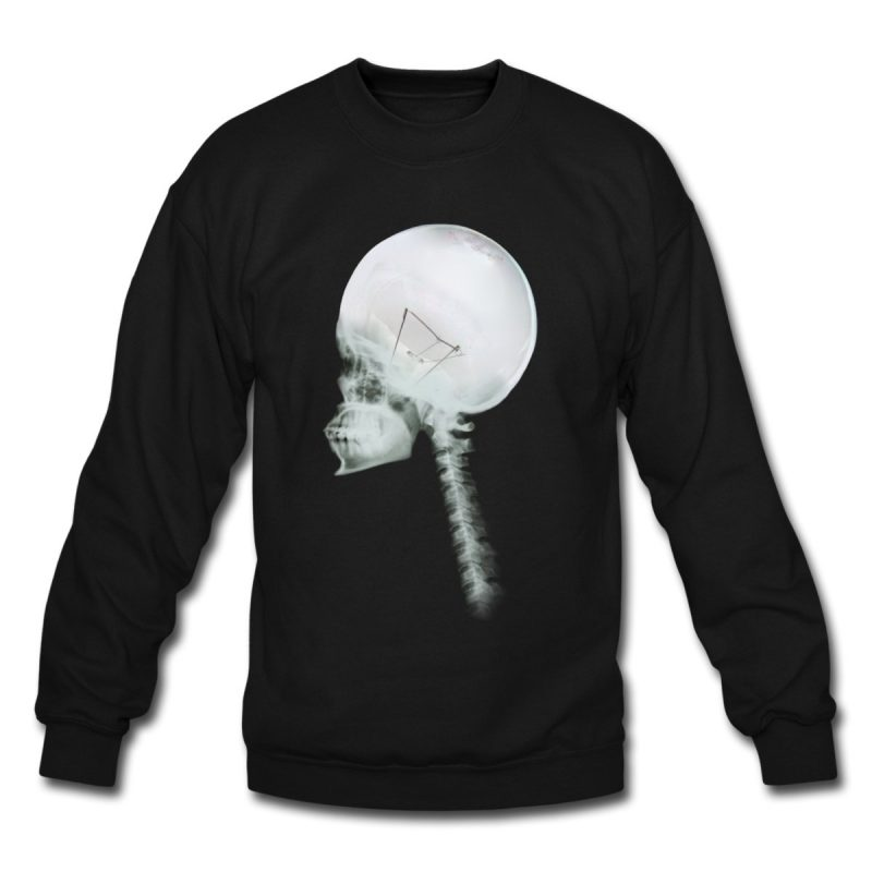 unisex black Luminous Skull Crew Neck Sweatshirt
