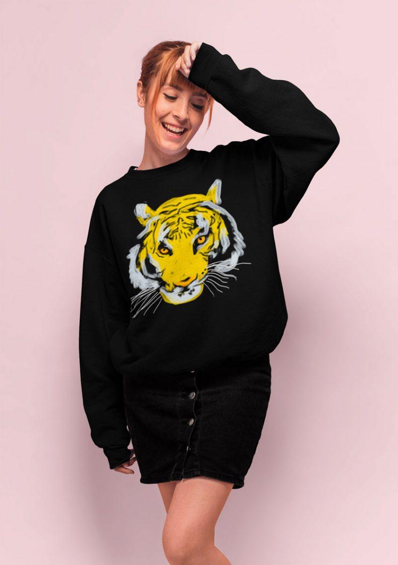 cool women sweatshirt tiger head print