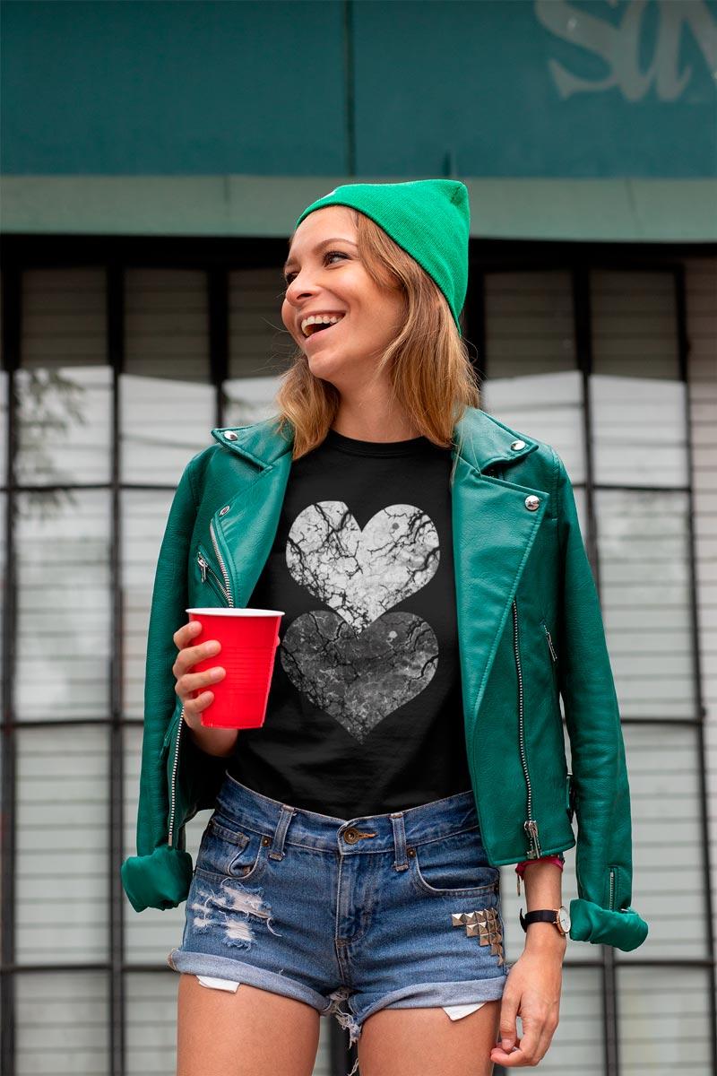 Women's Hearts Print cotton T-Shirt