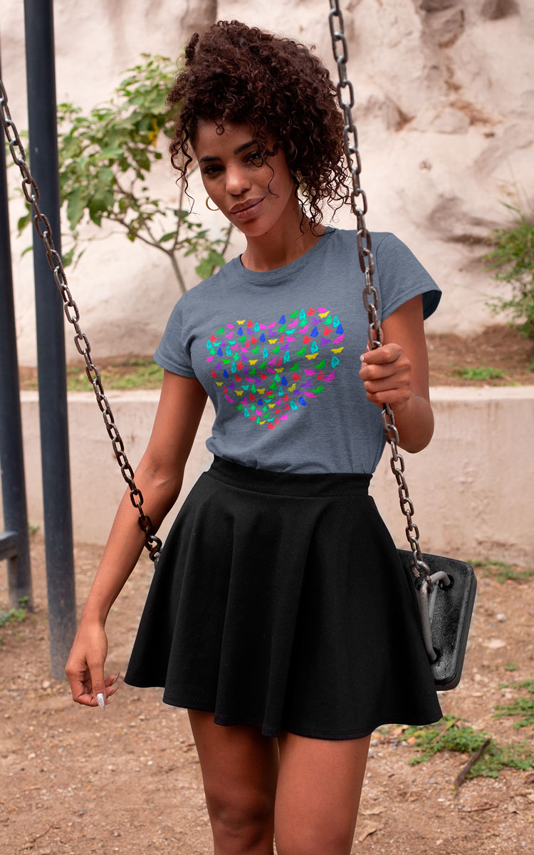 Woman's T-Shirt with Butterflys heart