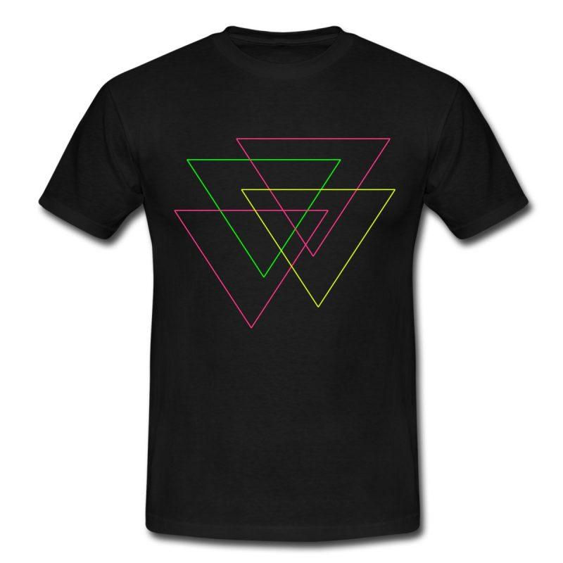 man's black t-shirt with fluorine triangles print