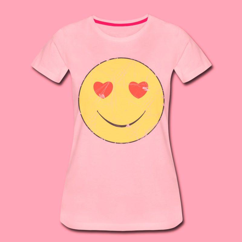 Emoji in love print cotton women's Tee