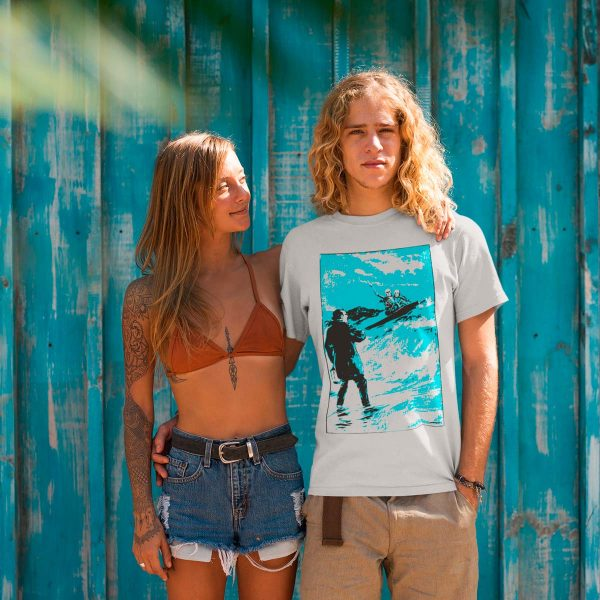 Funny man's Organic Tshirt with surfer skeletons print