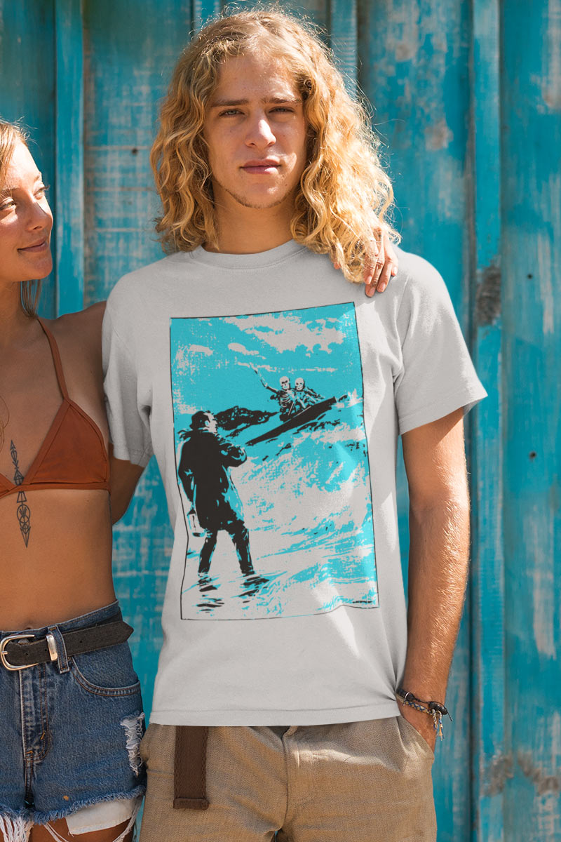 Funny men's Organic Tshirt with surfer skeletons print